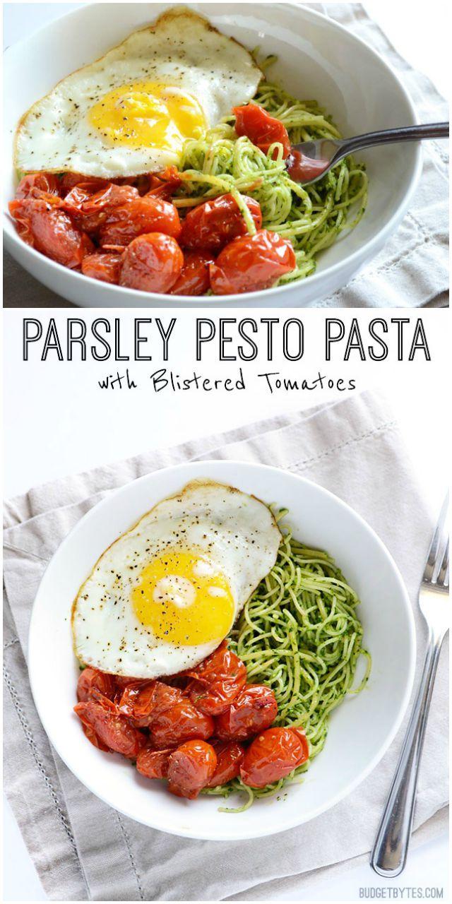 parsley pesto pasta with blistered tomatoes pesto pasta pasta noodles ...
