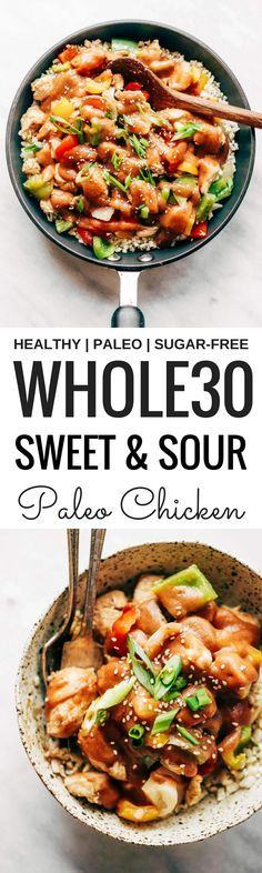 Healthy sweet and sour chicken with cauliflower rice. Paleo, whole30, and made without sugar! An easy weeknight dinner recipe, freezer friendly, and makes for fast meal prep! Whole30 meal plan that's quick and healthy! Whole30 recipes just for you. Whole3