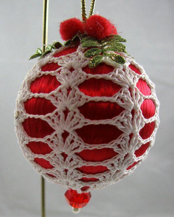Cubiertos de ganchillo Navidad satén rojo 143