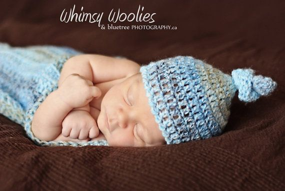 Sweetpea's Hat & Wrap in blue, adorable baby boy or girl beanie and blanket ( 0-3 mo)