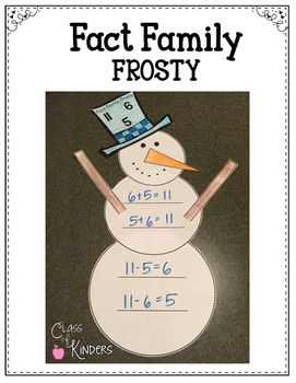 Fact Family Frosty {Snowman Math Fun} Kindergarten & First Grade. Craftivity.$