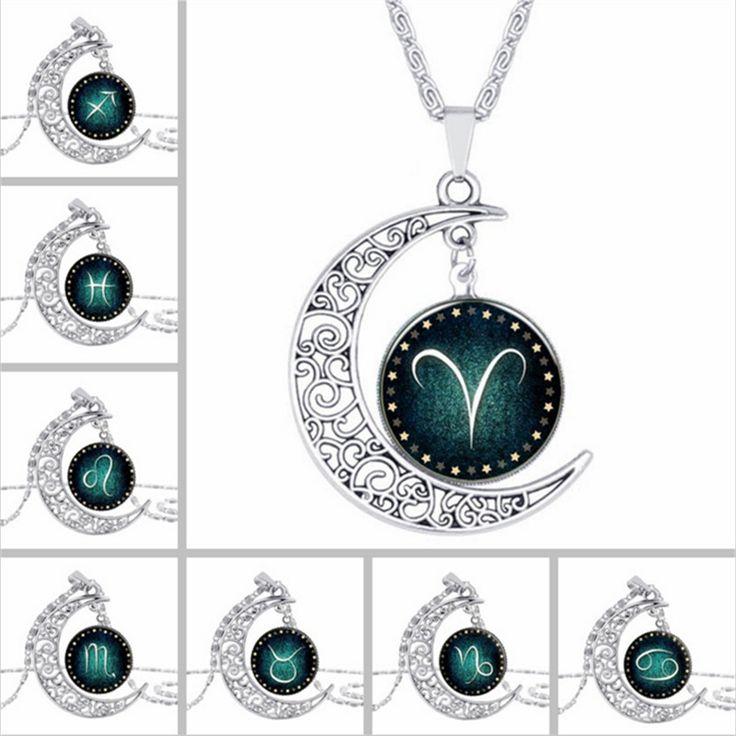 Zodiac pendant necklace glass cabochon silver necklace art picture statement necklace Constellation fashion for women  XL-954