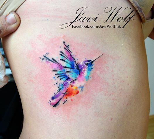 Watercolor Hummingbird Tattoo.  Tattooed by @javiwolfink  www.facebook.com/javiwolfink