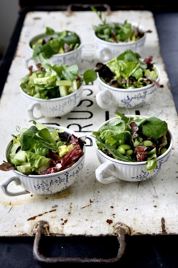 little salads presentation in porcelain cups..love this idea for a rustic-vintage wedding in italy