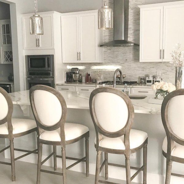 Louis Fabric Back Bar Stool Kitchen Counter Stools Wisteria Kitchen Stools With Back Stools For Kitchen Island Kitchen Stools