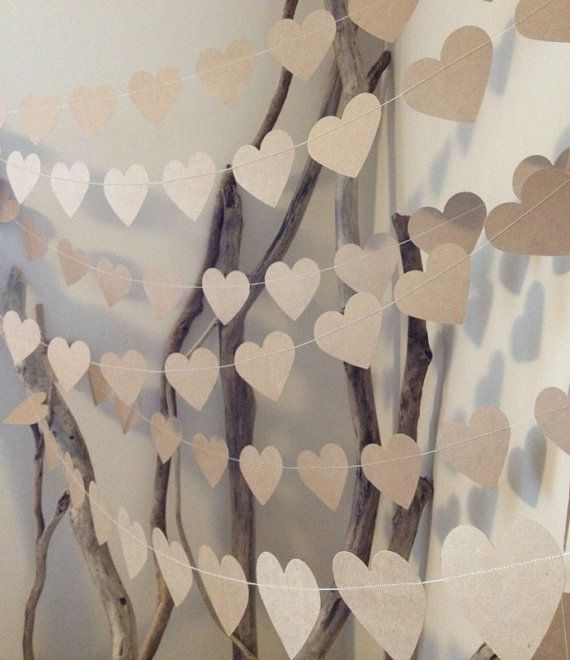 3 Metres Large Natural Shabby Chic Heart Garland - home decor, country chic, wedding, party decoration, baby shower decoration, photo prop via Etsy