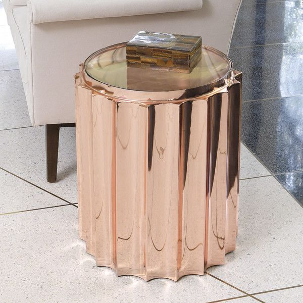 Features: -Copper Plated with Laquer Finish to prevent color change. -Tempered Glass Top. -Electroplated Copper with Protective maintains uniform tone. -Fluted collection. Shape: -Round. Design:
