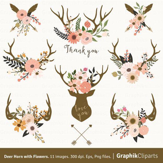 Cuerno de los ciervos con flores. Astas por Graphikcliparts en Etsy