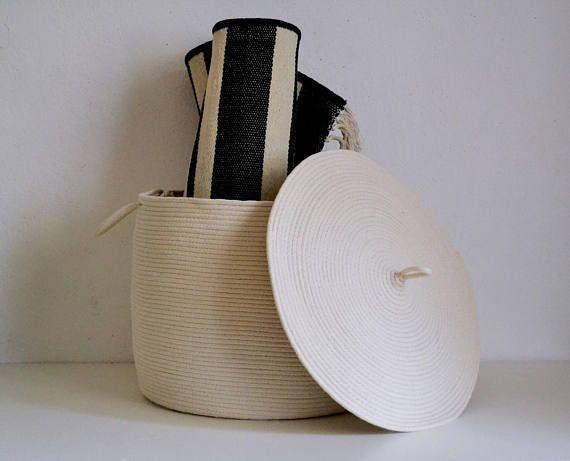 Rope basket, Storage basket, Storage basket with lid, Lidded basket, Scandinavian style basket, White basket,Laundry Hamper Toys basket $140