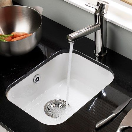 Astracast Lincoln White Ceramic 1 Bowl Undermount Sink Chrome Waste 360 X 460mm