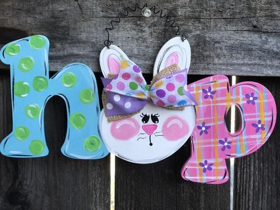 af7f700dae45c Hop Bunny Sign Easter Decor Spring Home Door porch Hand painted ...