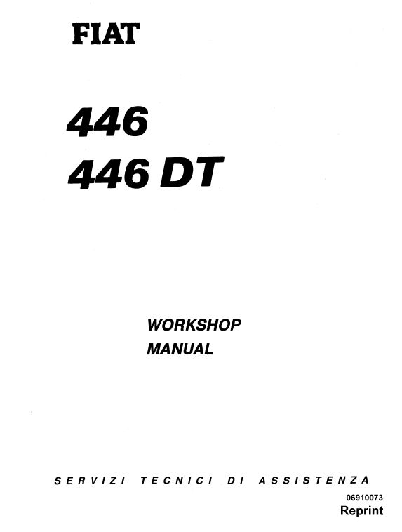 Fiat 446, 446DT Tractor Workshop Service Manual (With