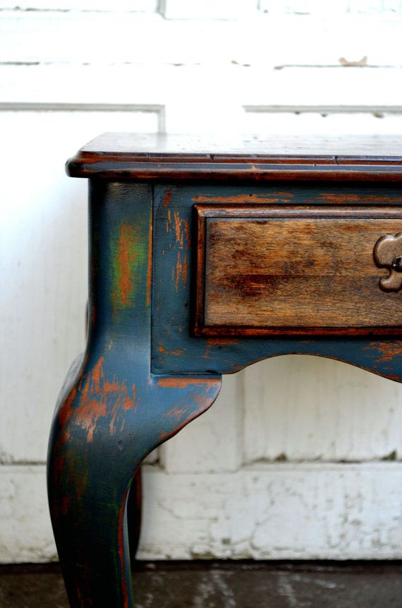Chalk painted rustic shabby chic blue and by BlackSheepMill, $95.00 Distressed furniture painted furniture