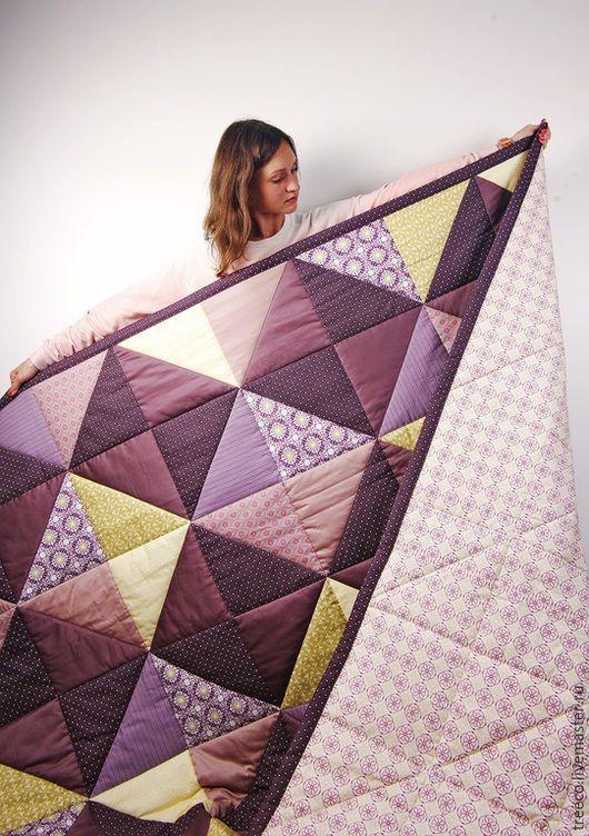 Текстиль, ковры ручной работы. Ярмарка Мастеров - ручная работа. Купить Большое фиолетовое лоскутное одеяло. Handmade. Фиолетовый