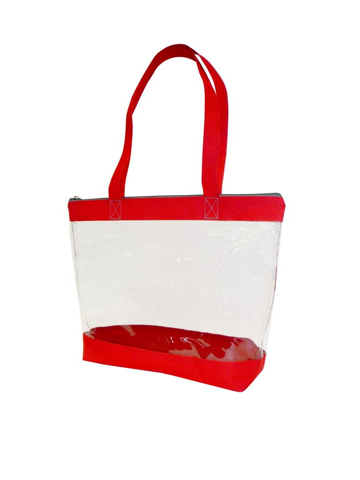 """Bags for LessTM Zippered Clear Security Bag, Red Trim. Colored fabric bottom and handles. Grey accent zipper top closure. Long shoulder straps. material : 0.3 mm clear PVC w/600D trim. size: 16""""W x 12""""H x 4""""G Handles: 26""""."""