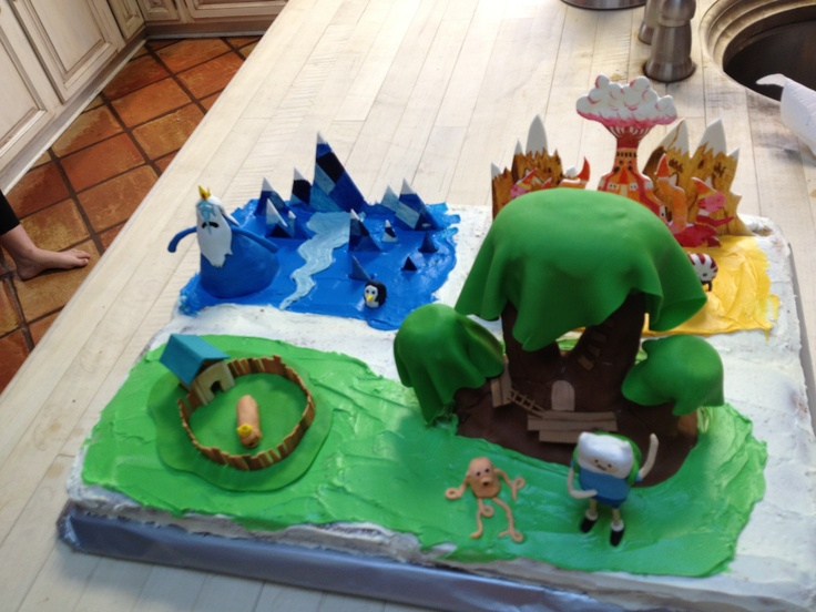 Adventure Time cake for my sons 11th birthday including the Ice King ...
