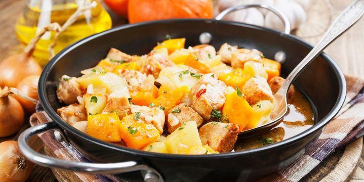 Κοτόπουλο με κολοκύθα και σκόρδο