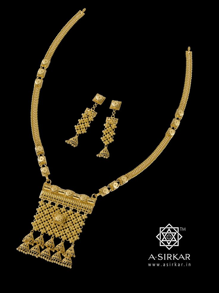 Jaisalmer : Just about a year ago we'd held a contest to name some of our jewellery. This one was called Sonar Kella by the winner, Mrs.Gargi Bhattacharya, and we've kept to that name in spirit as it was closest in sensibilities to our design inspiration. Reminiscent of the primary ornaments of married Banjara women, this necklace with its matching earrings is a svelte statement -- handmade by Bengali artisans in 22K gold.