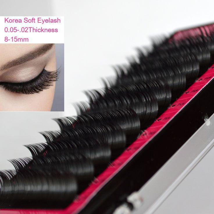 1Tray 0.05-0.2B/C/D Curl Korea Silk Black Individual Fake False Eye Lash Extensions Natural Long Makeup Tools
