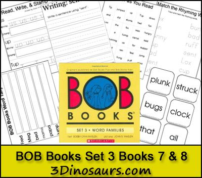 BOB Books Set 3 Books 7 & 8 Printables - Read Write & Stamp, Making BOB Book Words, Write a Sentence with the Word, Color as You Read, Tally Mark as you read, Rhyming Word matching and Cube Flashcards. - 3Dinosaurs.com