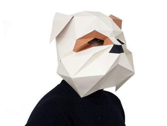 Make your own Bulldog Mask, Animal Head,Instant Pdf download, DIY New Year Mask, Printable Templates, 3D Polygon Masks, Printable Mask