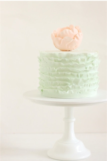 peach and mint green party cake.  parties and entertaining.  Girl's birthday, party, shower, mother's day, easter ideas.  recipes.
