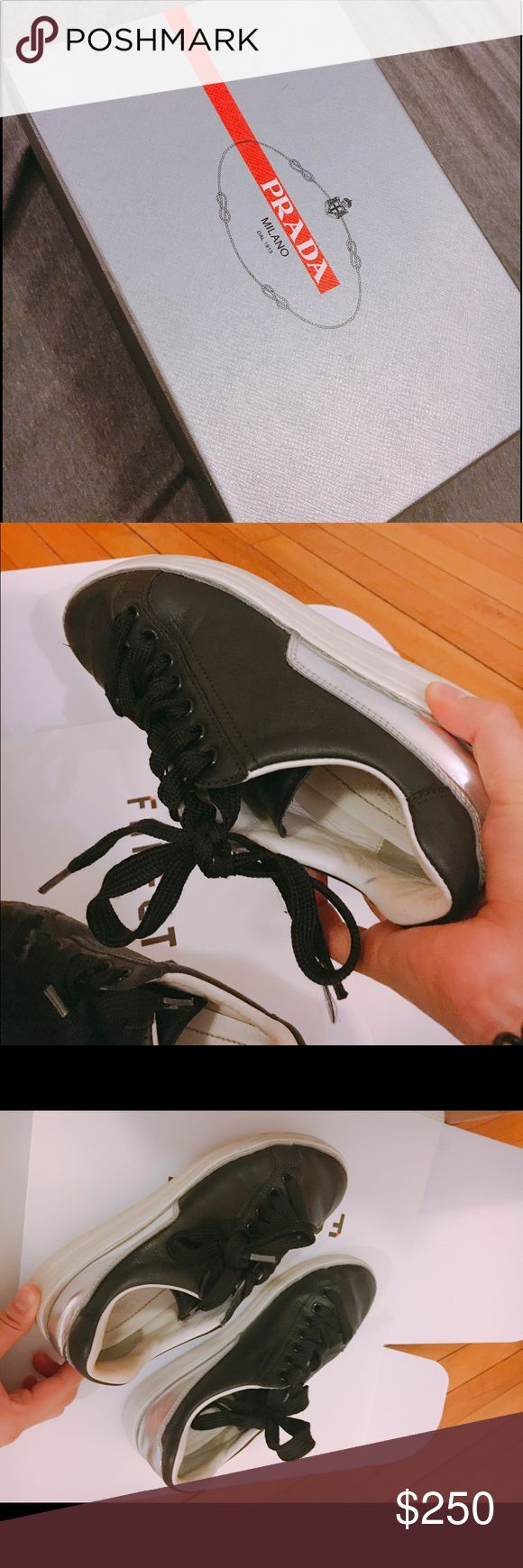 Prada Sneaker! only used twice. Size 5.5 Only wear twice!! My original size is 6.5 so that it's little bit small for me. 95% new!! Prada Shoes Sneakers