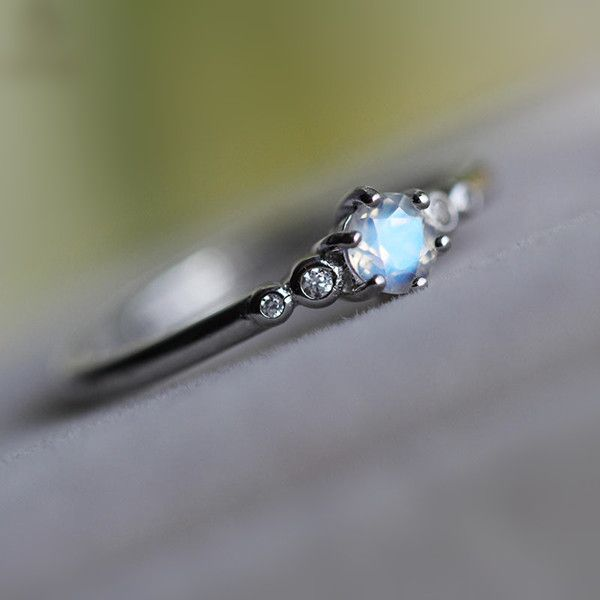 Simple Stunning Tiny Natural Blue Moonstone Promise Ring in 925 Silver