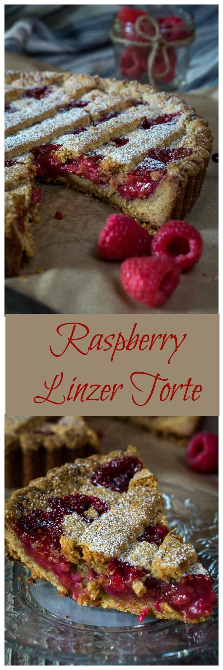 Raspberry Linzer Torte is rustically beautiful. The combination of the warm nuttiness of a homemade torte shell with a fresh raspberry filling is absolutely delicious | HostessAtHeart.com