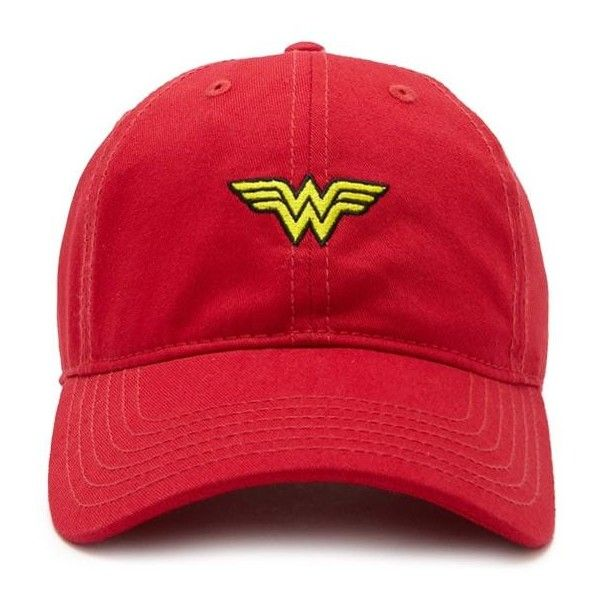 Forever21 Wonder Woman Baseball Cap ($13) ❤ liked on Polyvore featuring accessories, hats, graphic hats, logo hats, logo ball caps, baseball cap hats and baseball hat