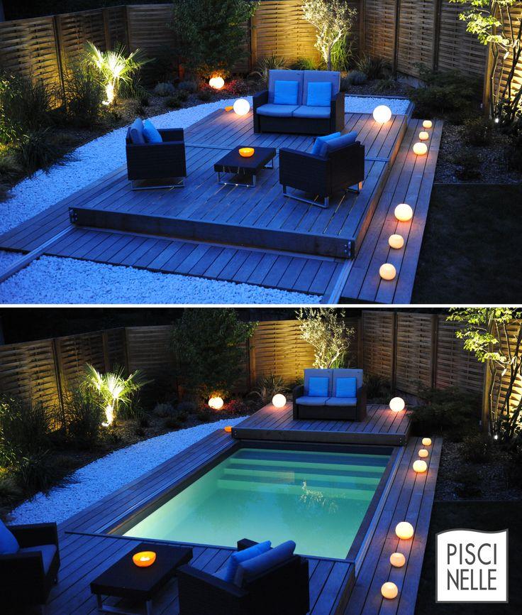 A l'heure bleue la piscine Piscinelle prend une nouvelle dimension esthétique et la terrasse mobile permet de profiter du jardin de manières différentes : pour un bain de minuit ou un diner sur l'eau.