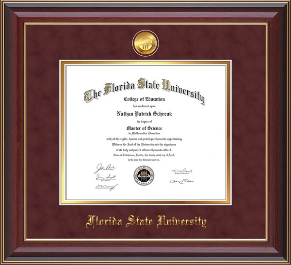 Florida State University Diploma frame - FSU - with hardwood moulding and 24k Gold-Plated FSU medallion and school name embossing.  Garnet suede on gold mat and UV glass to prevent your hard-earned achievement from fading and to keep those memories alive!