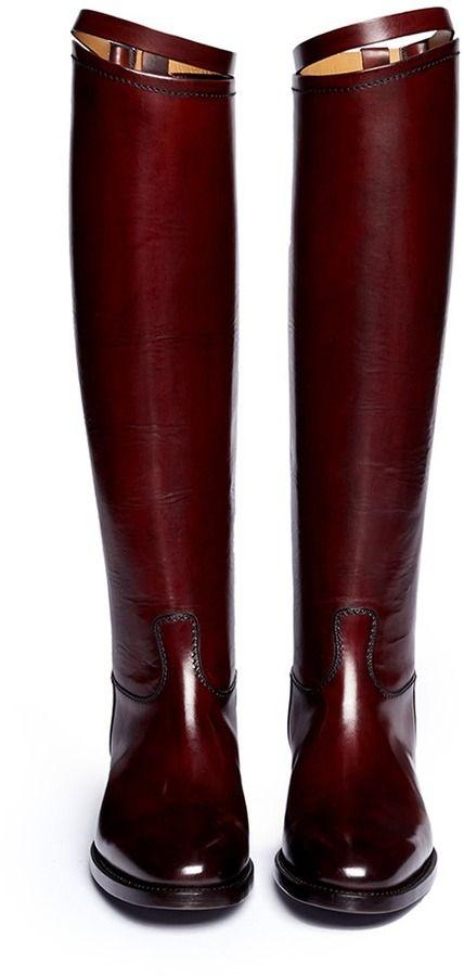 b3d730dec59e Alberto Fasciani Top Strap Leather Riding Boots