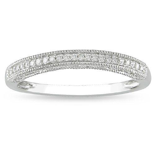 14k White Gold Diamond Wedding Band (H-I, I2-I3) Amour. $201.99