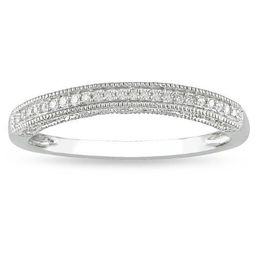 14k White Gold Diamond Wedding Band (H-I, I2-I3) Amour. $201.99
