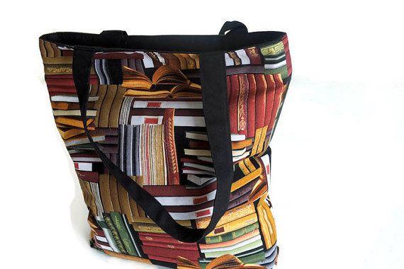 Biblioteca tote bag, tessuto designer borsa multiuso