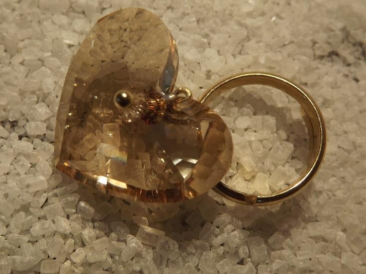 "Urban Light :  ""Heart"", silver ring with Swarovski heart"