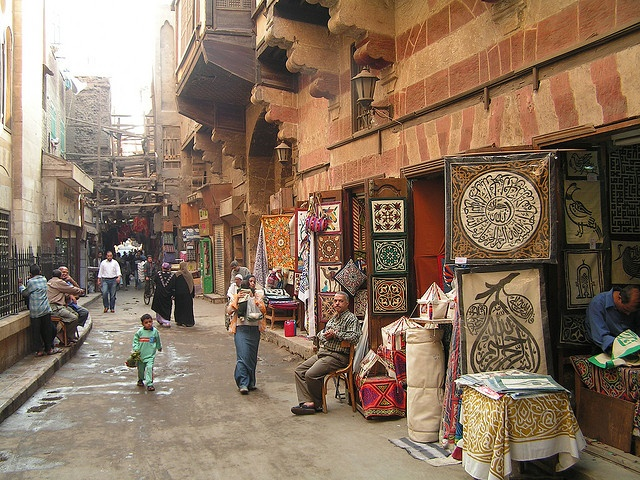 Street of the Tentmakers, Cairo  All this food on pinterest makes me hungry. I have never seen so much food. Anyway, I will need a tentmaker to dress me. I feel like I have gained 10 lbs. just looking at the food. Hello, Cairo.