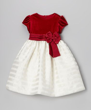 Take a look at this Red Velvet & Ivory Stripe Dress - Toddler & Girls by Jayne Copeland on #zulily today!