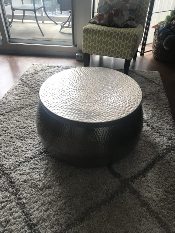 Silver Hammered Metal Cala Coffee Table Coffee Table Hammered