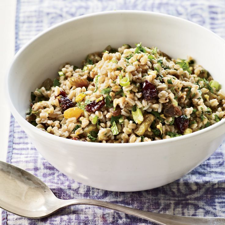 The nutty taste of farro is delicious with dried fruit, pistachio and fresh herbs in this healthy vegan salad from chef Annie Somerville.