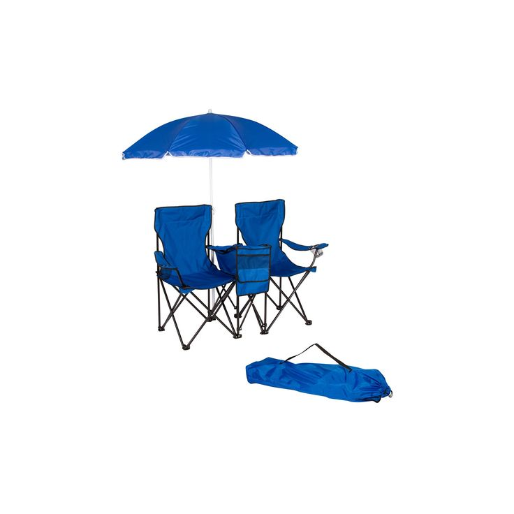 Trademark Innovation Double Folding Camp and Beach Chair with Removable Umbrella and Cooler - Blue
