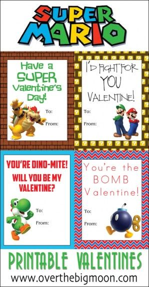 Super Mario Printable Valentines + Candy Toppers | Over the Big Moon