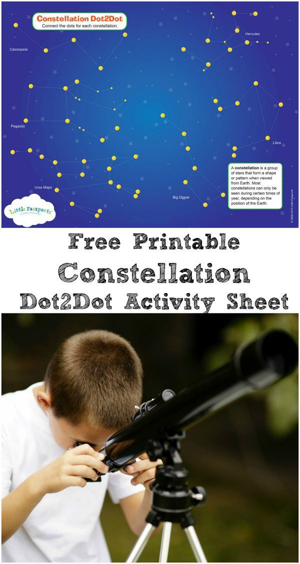 constellation printable activity sheet - connect the dots for each constellation. Help kids learn about space, the stars and stargazing. Great activity for camping