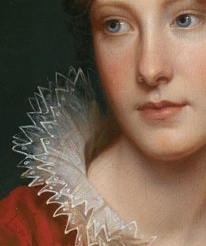 """""""Portrait of Rosalba Peale"""" - Pintura de Rembrandt Peale (1778-1860), (detalhe)"""