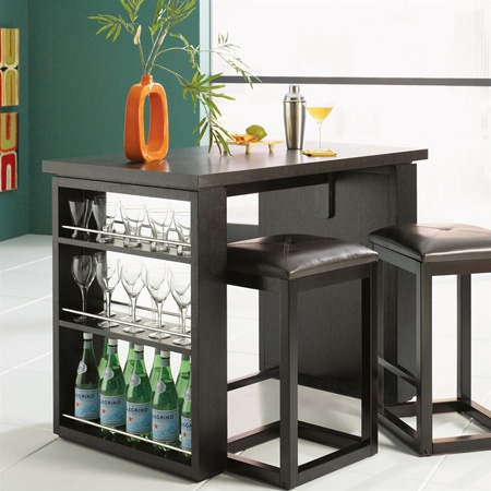 Bar Counter And Stools In Black