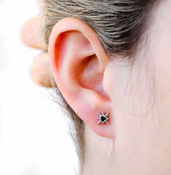 Star Compass Stud Earrings Sterling Silver Black by lunaijewelry