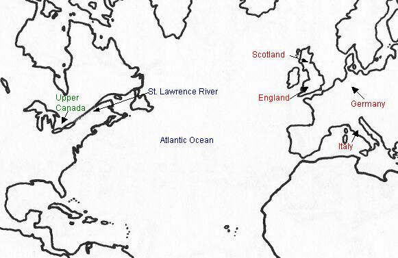 Many pioneers of Upper Canada came from France, England, Scotland, Italy, Germany and other countries in Europe.