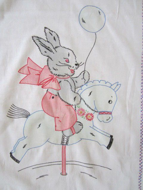 Vintage Vogart Tinted Embroidered Bunny Riding Horse Crib Cover Quilt Top #vogart