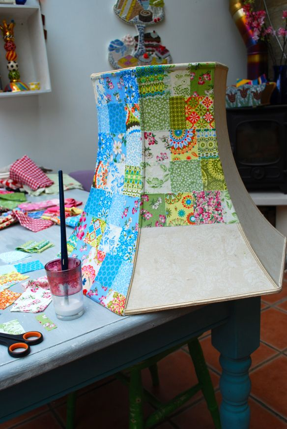 how to make a patchwork lampshade